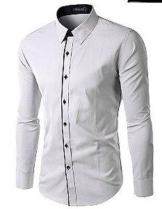 Camisa Slim Fit Versati Branca Devivo Azul