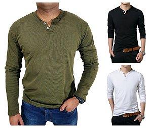 KIT com 3 Camiseta HENLEY  Slim Fit Manga Longa 2 BOTÕES - 1 Branca, 1 Preta, 1 Verde Escuro