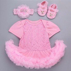 Conjunto de vestido manga curta, faixa e sapatinho