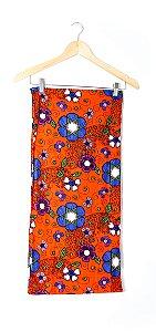Turbante em Tecido Africano Floral Laranja