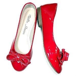 Sapatilha bico redondo cor vermelha com laço