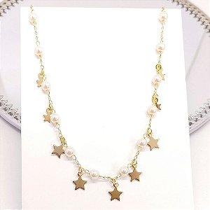 Chocker Pérolas e Estrelas - Folheado Ouro