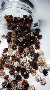 Pedra de luxo chaton marrom c? glittler 4mm - 50 unidades