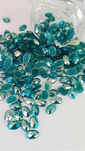 Pedra de luxo oval azul c/ glitter 4x6 - 30 unidades