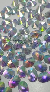 Pedra luxo chaton oval rivoli AB 6x8 - 30 unidades