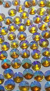 Pedra de luxo rivoli dourado AB 4mm - 30 unidades