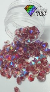 Pedra de luxo glitter rivoli vermelho 4mm - 30 unidades