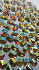 Pedra de luxo oval rivoli dourado AB 6x8 - 30 unidades