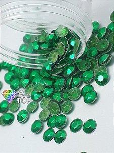 Pedra sextavada verde 4mm - 100 unidades