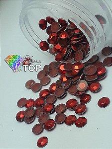 Pedra sextavada cor vermelha 4mm - 100 unidades