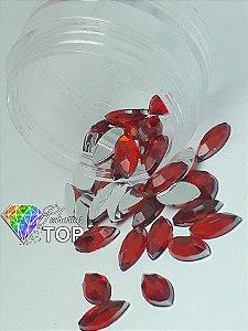 Pedra navete qualidade AAA cor vermelho 4x8 - 30 unidades