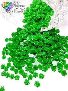 Rosas 3d com glitter verde 4,5mm - 50 unidades
