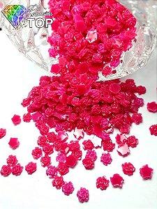 Rosas 3d com glitter pink 4,5mm - 50 unidades