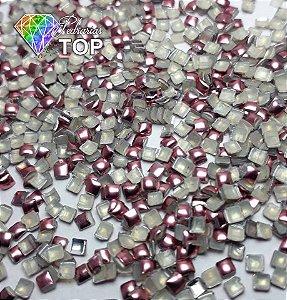 Chapinha quadrada rosa 2mm - 100 unidades