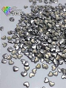 Chapinha coração prata 3mm - Aprox. 100 unidades