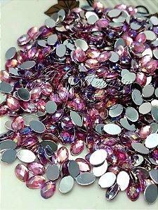 Pedra luxo oval pink furta cor  4x6 - 30 á 40 unidades
