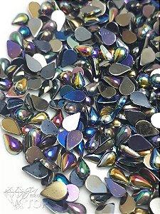Pedra da lua gota preto  furta cor 3x6 - Aprox. 50 unidades