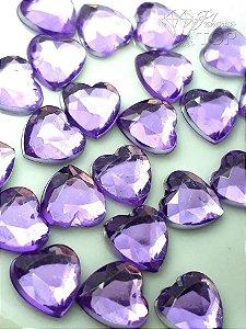 Pedra coração 6mm c/ 10 un. - LILÁS