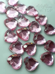 Pedra coração 6mm c/ 10 un. - ROSA