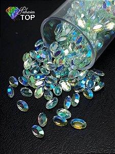 Pedra cristalina formato oval  3x5 c/10 un. -  REF. 008