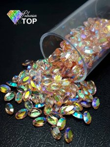 Pedra cristalina formato oval  3x5 c/10 un. -  REF. 009