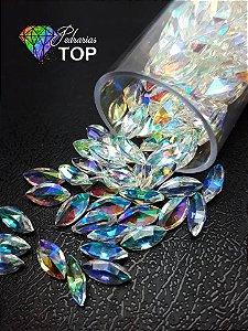 Pedra cristalina formato navete  4x8 c/10 un. -  REF. 015
