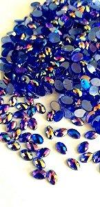 Pedra luxo oval azul furta cor 4x6 C/ 30 unidades - Ref. 007
