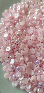 Meia pérola rosa ab 4mm c/ aprox. 60 unidades