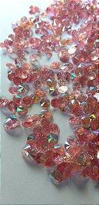Rivoli redondo c/ glittler rosa 6mm - 30 pcs
