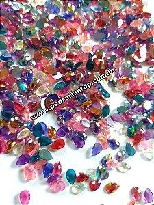 Pedra gota cristalina mix de cores 4x6 c/ 30 unidades