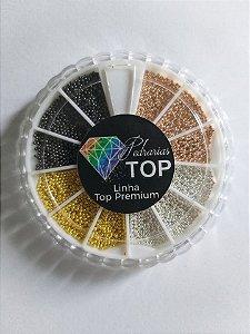 Disco caviar metal cores rosê, prata , dourado, chumbo - Aprox. 25 g