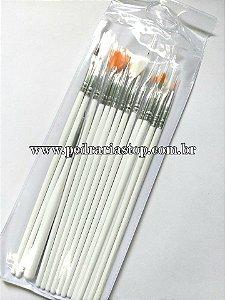 Kit pincel branco c/ 15 pcs