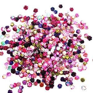 Flor 3d luxo mesclada mix 6mm c/ 10 pçs  - Qualidade diferenciada