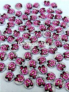 Pedra redonda cabochão 6mm c/ 20 pçs - Floral C