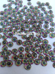 Pedra redonda cabochão 6mm c/ 20 pçs - Floral E