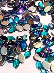 Oval lapidado azul ab  4x8 c/ 50 pcs