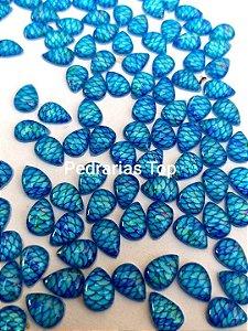 Pedra cabochão gota 4x6 c/ 20 pçs - Sereia azul