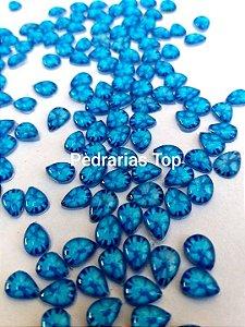 Pedra cabochão gota 4x6 c/ 20 pçs - Azul