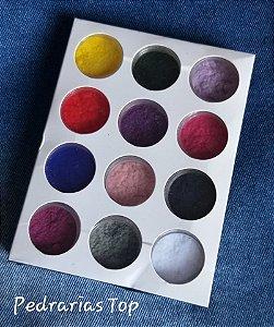 Kit pó para decoração de unhas efeito camurça - 12 cores