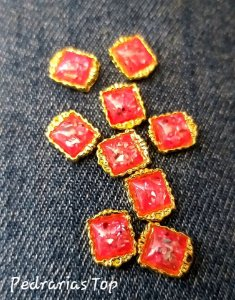 Jóias de luxo para unha c/2 pcs - Quadrado vermelho