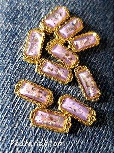 Jóias de luxo para unha c/2 pcs - Retângulo lilás