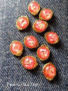 Jóias de luxo para unha c/2 pcs - Redondo vermelho