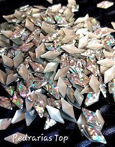 Losango holográfico prata 4x8 c/ 100 pçs