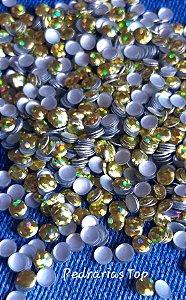 Chapinha holográfica dourada 4mm - 200 unidades