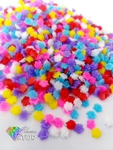 Rosa 3d mix de cores 4,5mm - 50 unidades