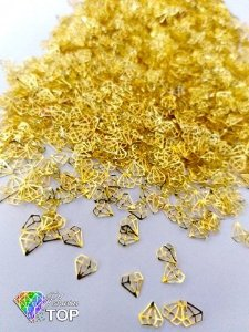 Metal para decoração diamante c/ 50 unidades