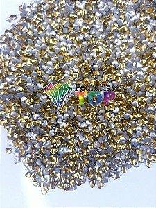 Chapinha coração dourado 3mm - Aprox. 150 pçs