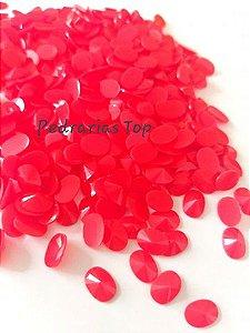 Chaton oval rivoli vermelho 6x8 - Aprox. 30 pçs
