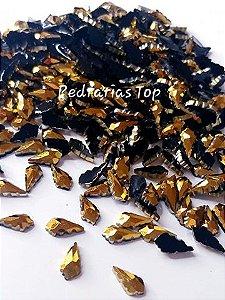 Pedra luxo folha dourada 6x8 - 30 pçs