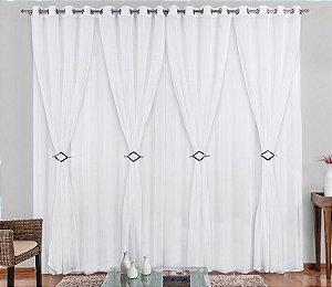 Cortina Branca para Sala 4 metros Varão Simples Gisele